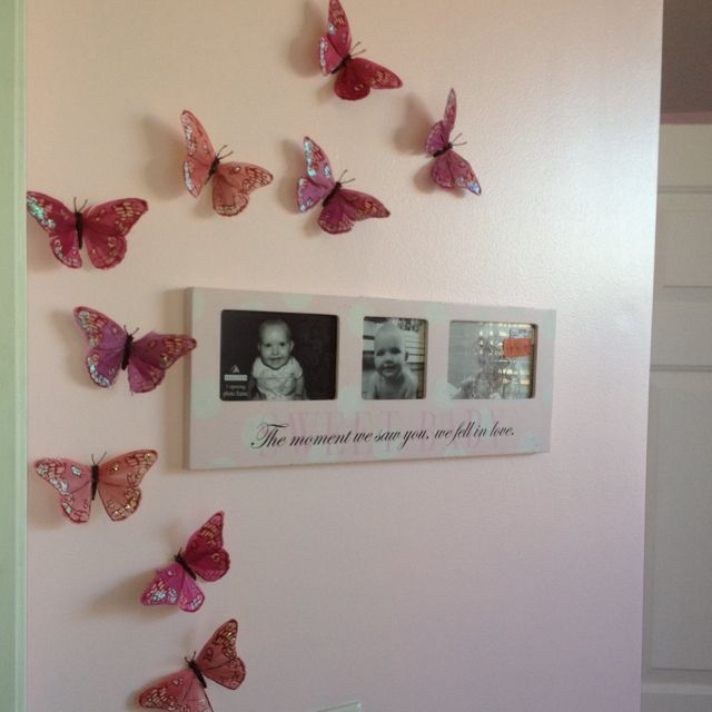 Nursery wall w 3d paper butterflies