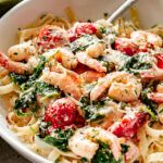 Creamy Shrimp Fettuccine with Spinach and Tomatoes Recipe - Print
