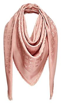 4dab23427634d Louis Vuitton Pale Pink Naturel Monogram Silk Wool Twill Shawl Scarf.. Get  the lowest