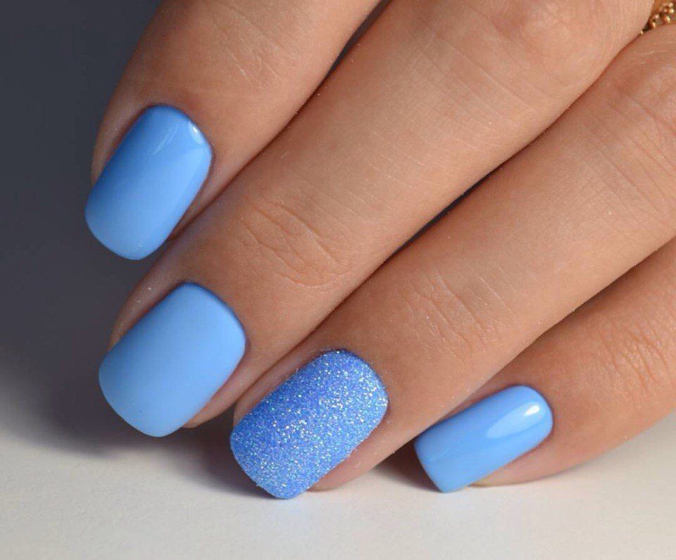 Nail Art 4243 Plain Nails Blue Acrylic Nails Bright Blue Nails