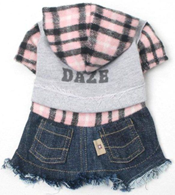 """Dog Clothes Denim Flannel Dress Designer Pet Clothing """