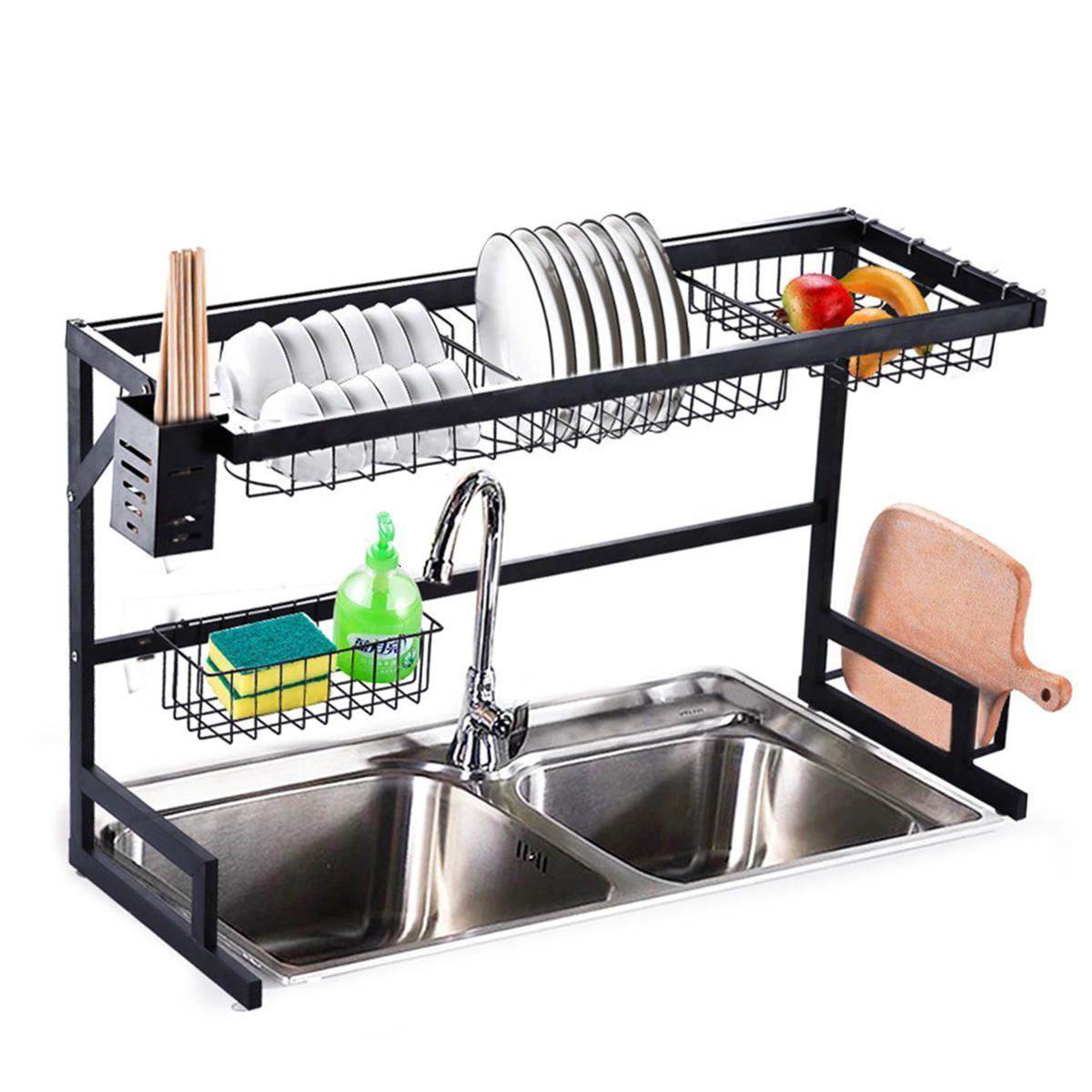 2 Tier Dish Drainer Over Double Sink Drying Rack Draining Tray Fruit Plate Bowl Kitchen Storage RackHardware & AccessoriesfromFurniture & Home Improvementon banggood.com