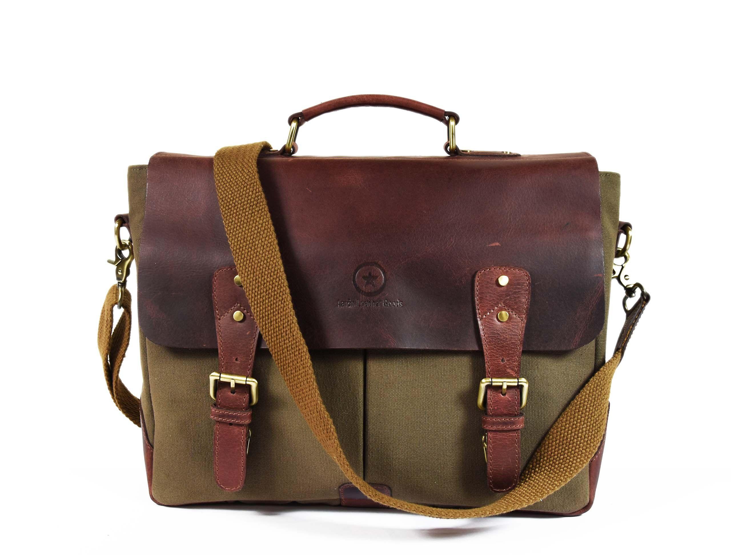 1aab5f3bc5 Handmade Vintage Leather Canvas Crossbody Messenger Bag