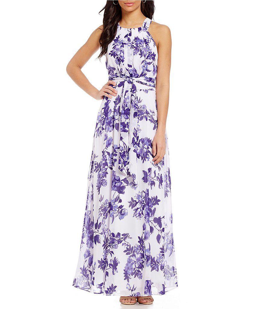 99e480414822 Leslie Fay Floral Print Chiffon Maxi Dress - raveitsafe