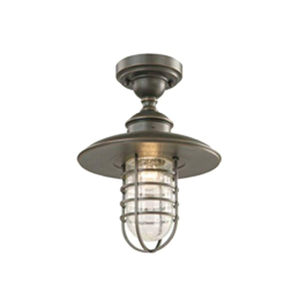 hampton bay dualpurpose 1light outdoor hanging oilrubbed bronze pendant or flushmount lantern