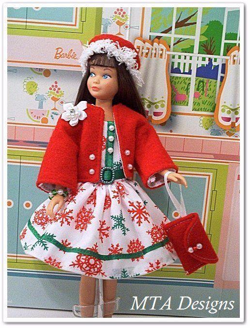 RETRO SNOWFLAKES~Christmas~Handmade~6pc Dress~Fits Vtg Repro SKIPPER~MTA Designs #HandmadeSkipperFashion