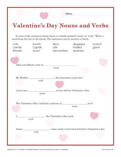 Valentines Day Nouns and Verbs Worksheet for 2nd Grade