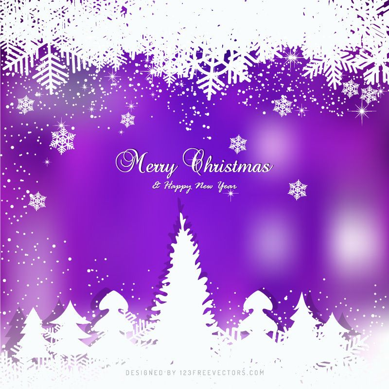 Purple And White Christmas Tree: Purple Christmas Winter Snow Background With Trees