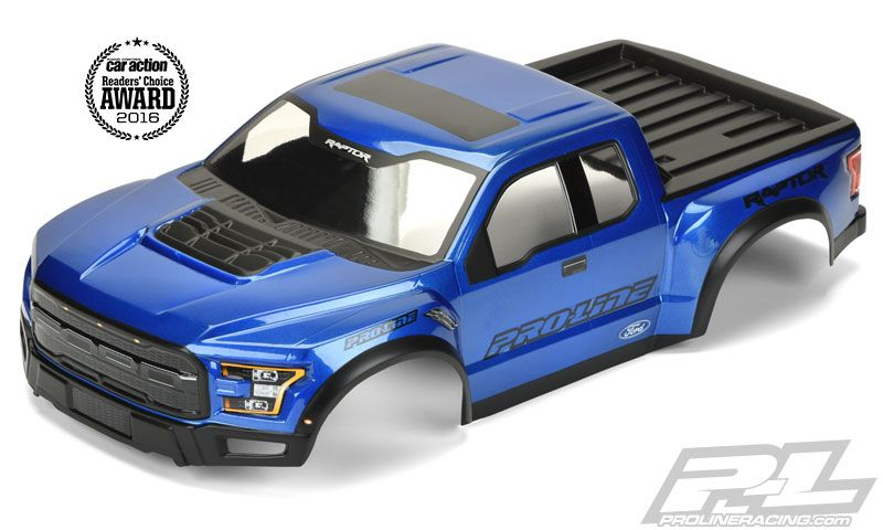 Pro-Line has included all the scale detail you could imagine into this Pre-Painted, Pre-Cut and Pre-Stickered body for a highly detailed yet functional replica of the 2017 Raptor. Even the color that has been pre-painted was painstakingly matched to the real full scale counterpart! #prolineracing #ford #builtfordtough Mfg part number 3461