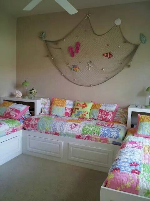 Adorable Shared Girls Beach Themed Room With Images Bedroom