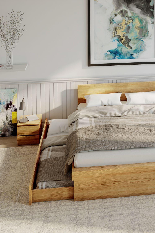 Die praktische Kombination aus Bett und Schubkästen auf