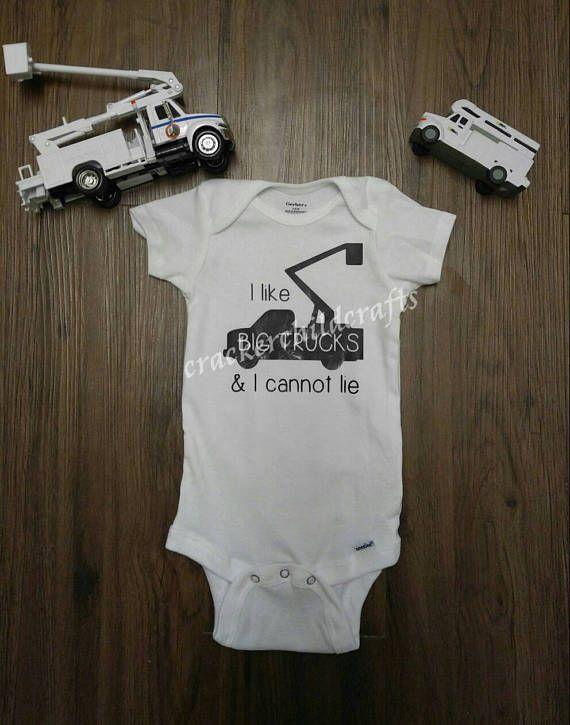 e906cfc31 I like big trucks & I cannot lie bodysuit/toddler shirt- Bucket truck onesie-  Bucket truck- Lineman'