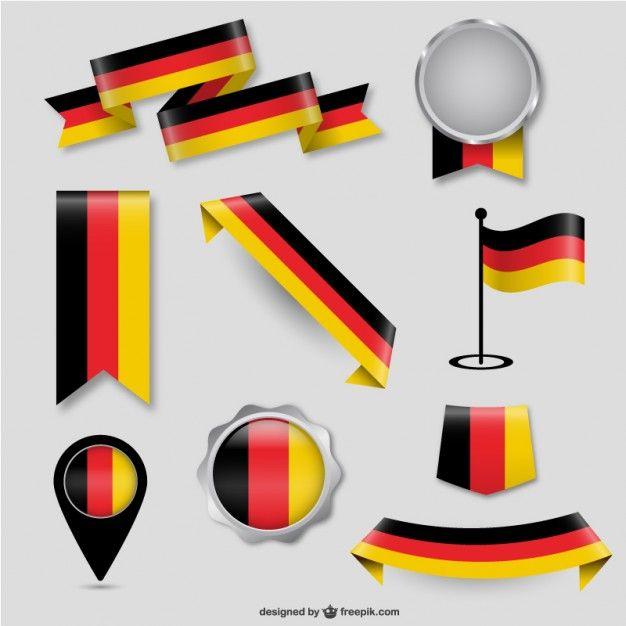 German Flag Design Elements Free Vector