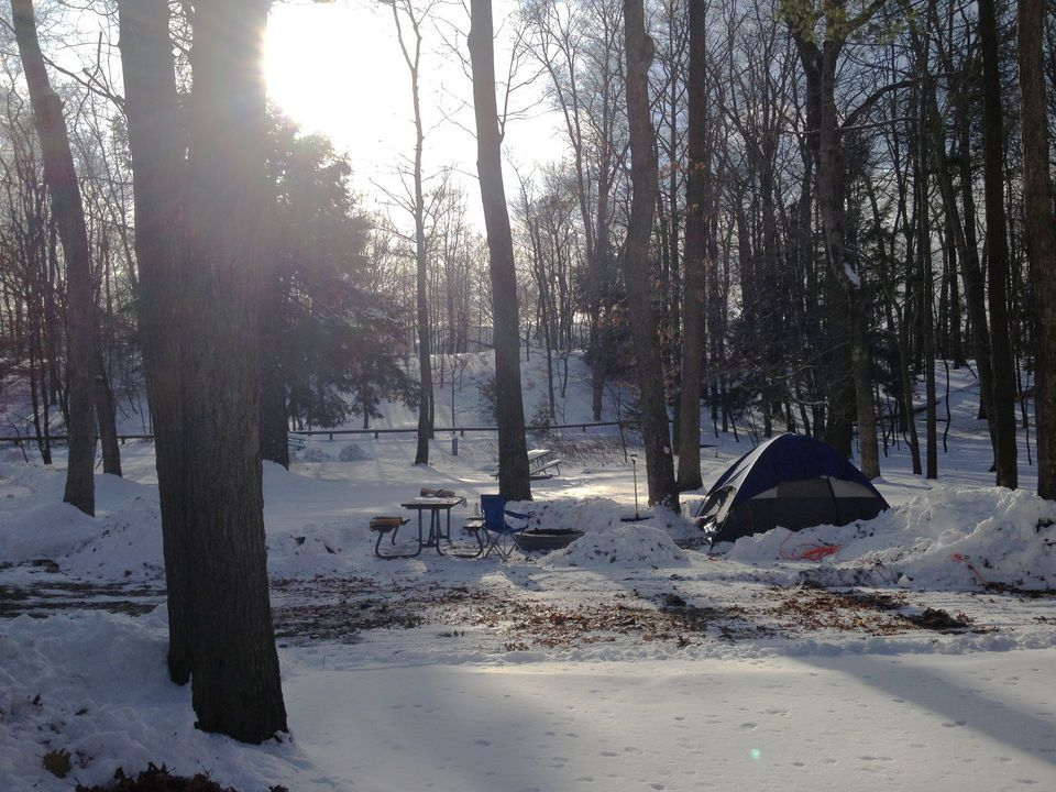 Camping in a Winter Wonderland Muskegon State Park opens