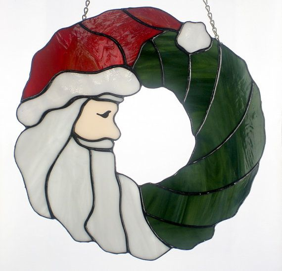 Stained Glass Santa Claus Christmas Wreath Holiday door BerlinGlass