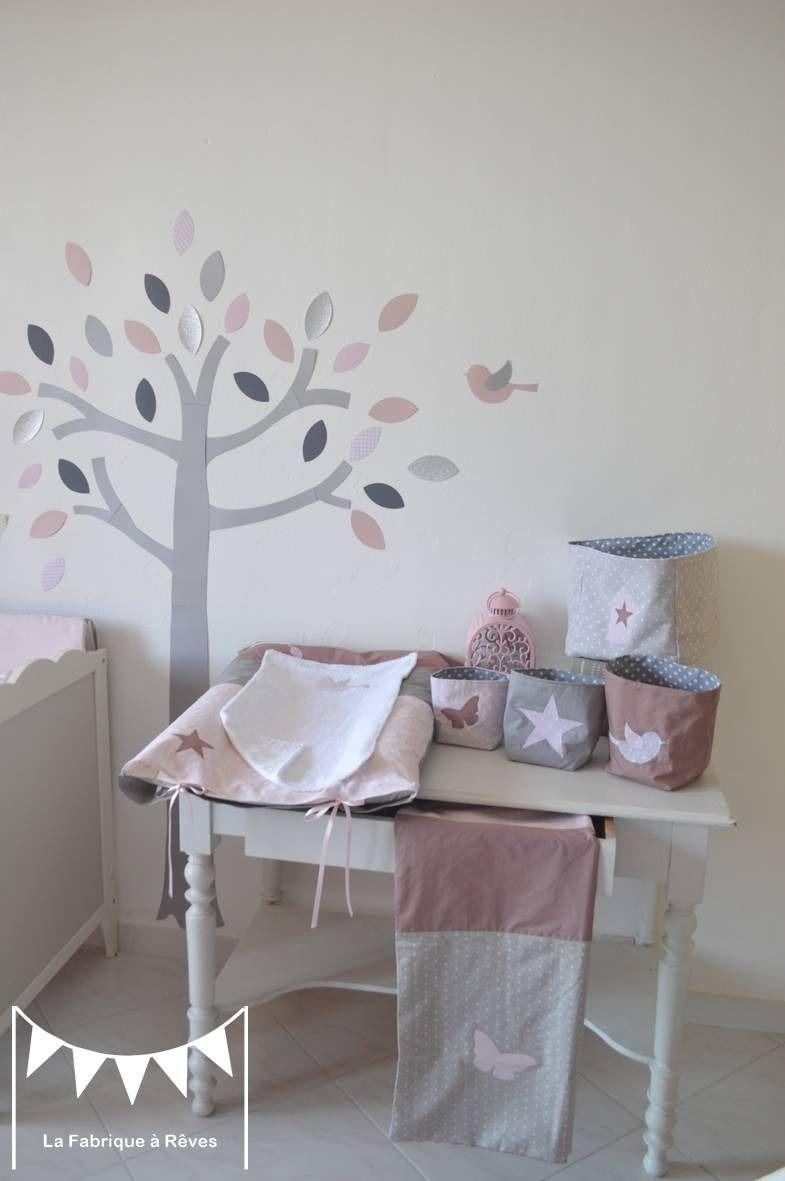 sur commande coussin nichoir oiseau rose poudr gris vieux rose linge de lit enfants par. Black Bedroom Furniture Sets. Home Design Ideas
