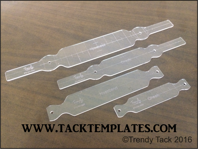 """""""Straight Round"""" Halter Set template set includes noseband and cheek templates.  Overlay templates are available as an add-on.  #tacktemplates #leathertemplates #tack #templates #halter #pattern #leather #diyleather"""