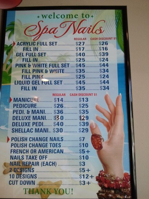 Spa Nails Price List Nail Salon Prices Nail Salon Salon Price List