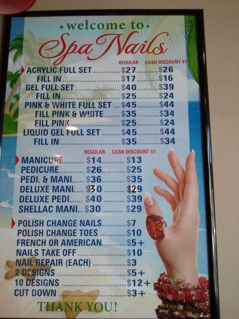 Spa Nails Price List Msp Nail Prices Home Nail Salon Nail Salon Prices