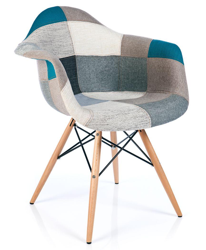 Eames Daw Style Xl Patchwork Armchair Blue Furnmod