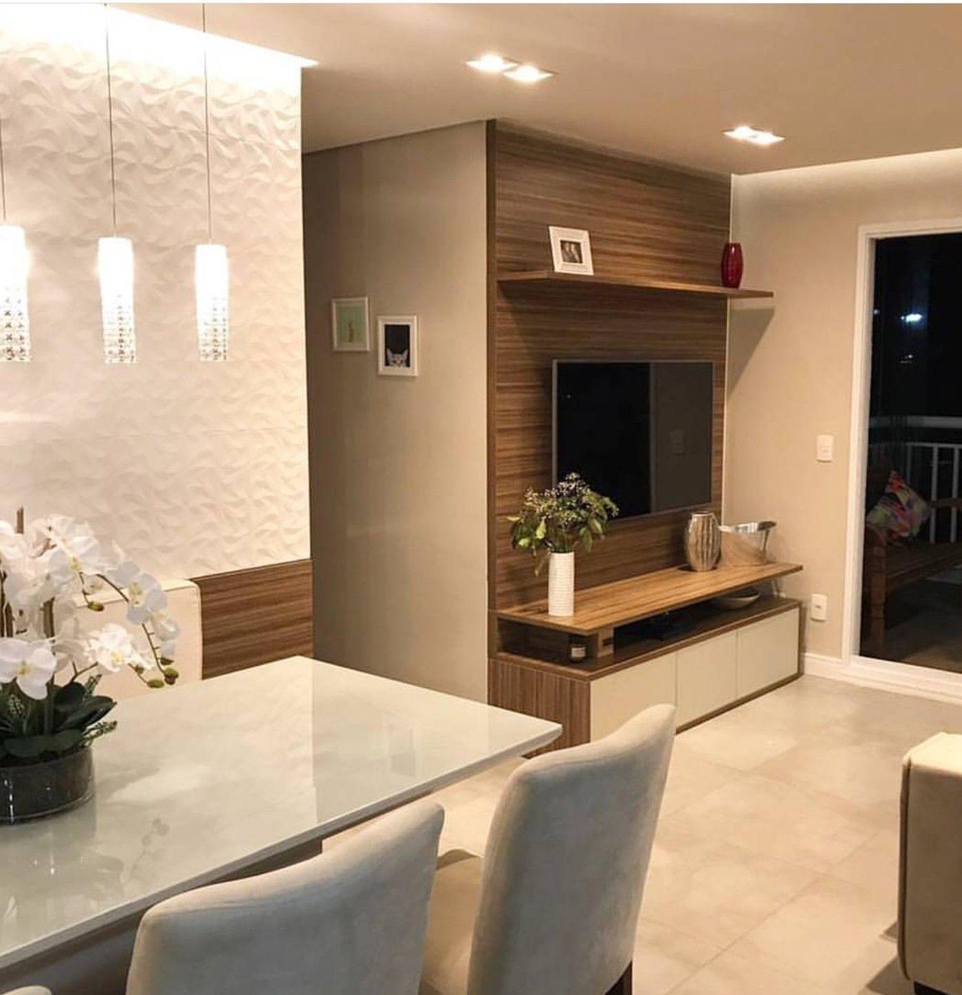 Pin Do A Sheila De Sousa Batista Em Sala E Home Office Pinterest  -> Sala De Jantar E Sala De Estar Pequena