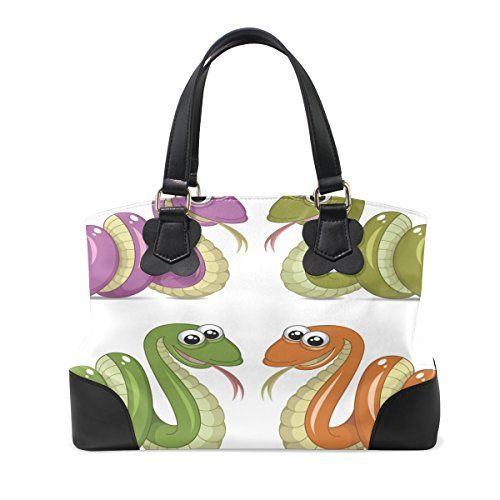 be1a12e01140 LiKai Womens Genuine Leather Hangbags Shoulder Bags Four Color Snakes Large  Satchel Work Tote Bags
