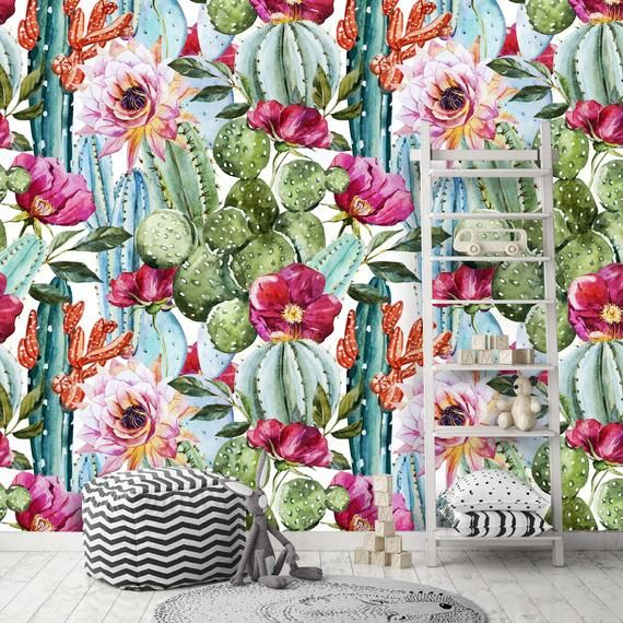 Removable Peel 'n Stick Wallpaper, Self-Adhesive Wall Mural, Watercolor Tropical Pattern, Nursery De #tropicalpattern
