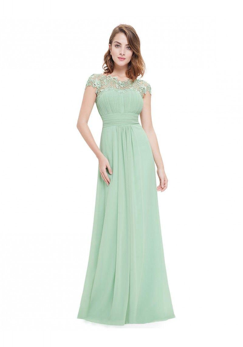 Chiffon Abendkleid lang mit Spitze in Mint Grün - hier günstig