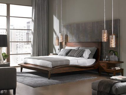 classic wood bed furniture and grey theme decor in small bedroom interior decorating design ideas - Grey Bedrooms Decor Ideas