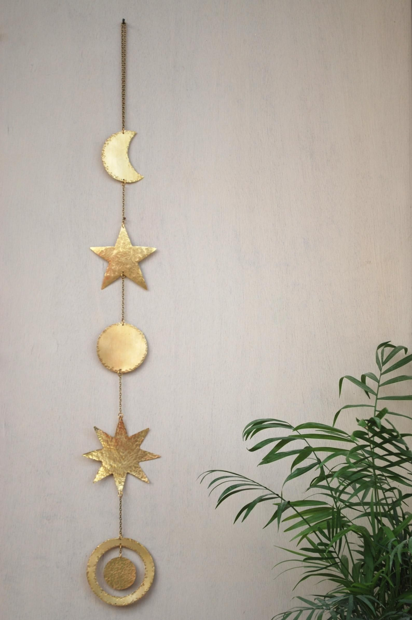 Brass Wall Hanging Celestial Wall Decor Boho Mobile Sun Etsy