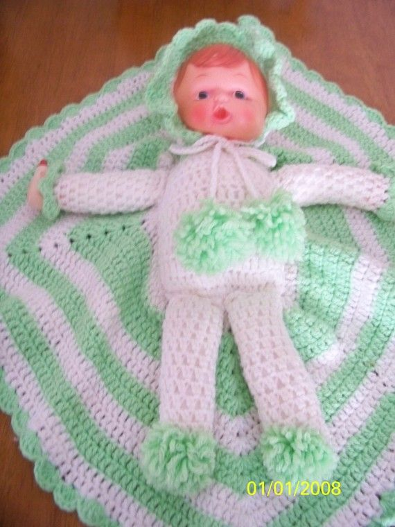 Vintage Crochet Doll With Attached Afghan Baby Bottle