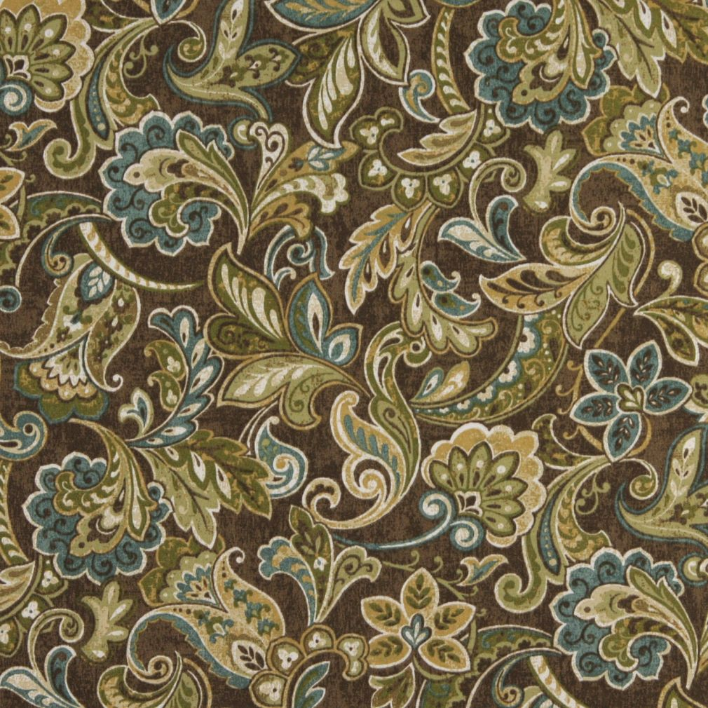 Green Blue And Brown Abstract Floral Outdoor Upholstery Fabric By