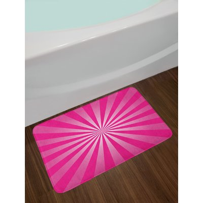 East Urban Home Retro Hot Pink And White Hot Pink Bath Rug Pink