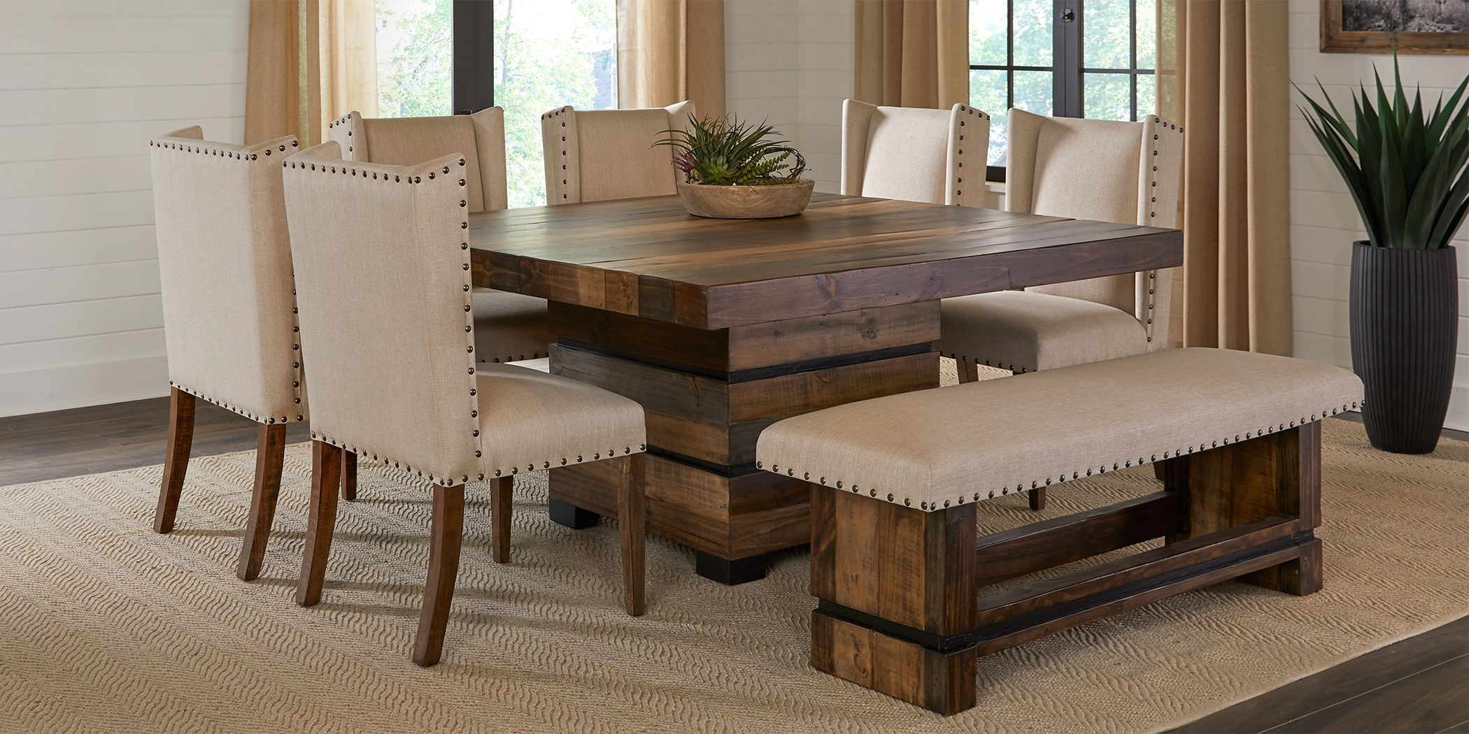 Cindy Crawford Home Westover Hills Brown 8 Pc Square Dining Room Square Dining Room Table Rustic Dining Room Table Brown Dining Room Table Dining table rooms to go