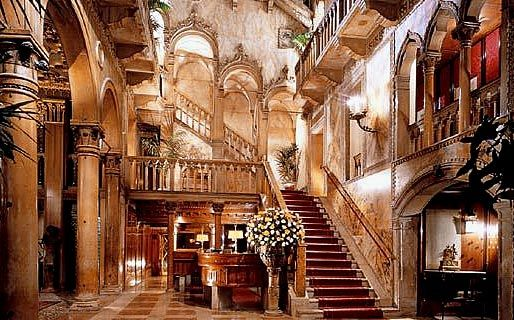 """The interior lobby of the Hotel Danieli, undoubtedly Venice's most luxurious and expensive hotel.  It was also once a private """"Palazzo"""" residence"""