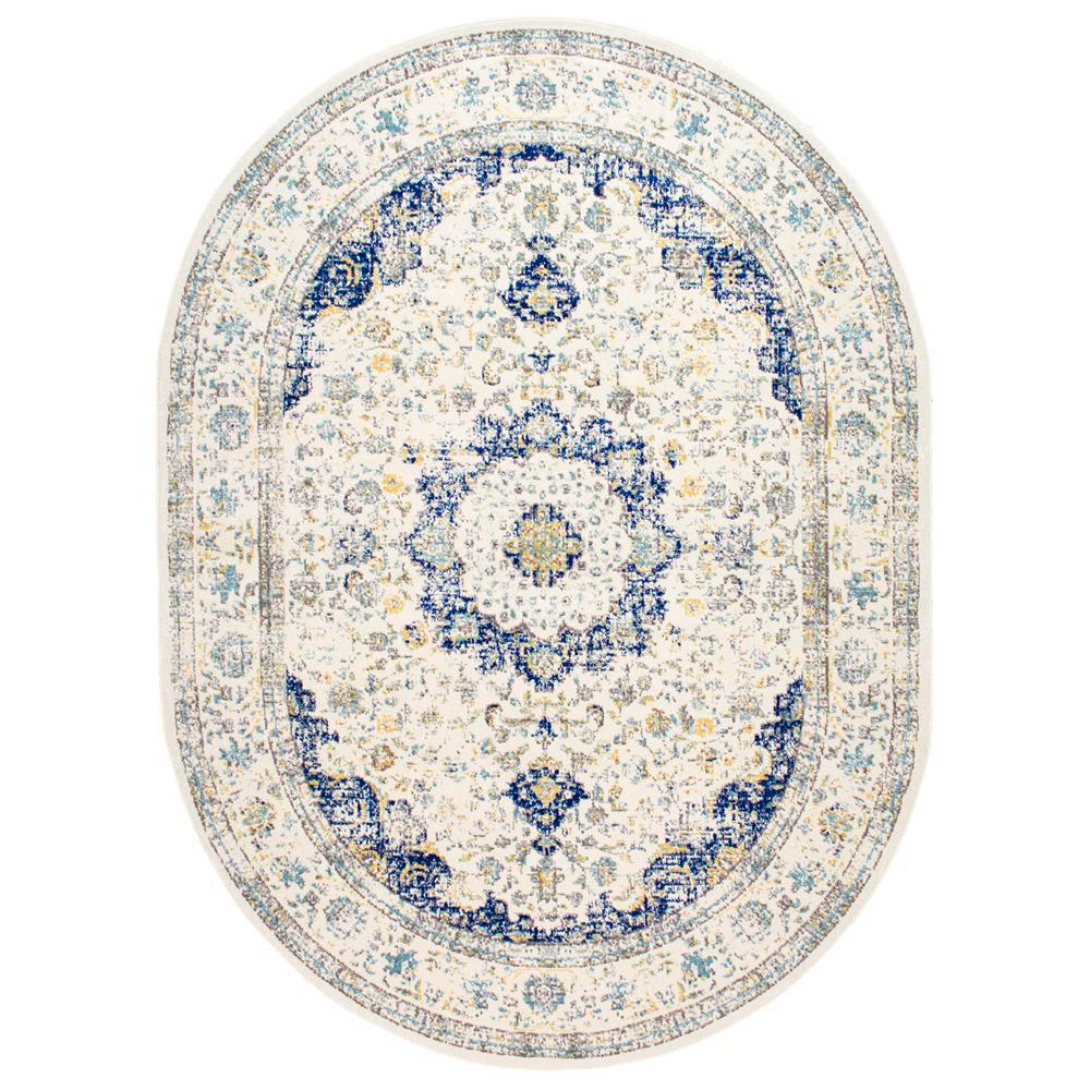 Nuloom Verona Vintage Persian Blue 5 Ft X 8 Ft Oval Rug Rzbd07a O508 In 2020 Area Rugs Oval Rugs Blue Area Rugs