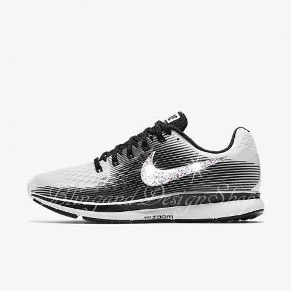 Custom Bling Swarovski Womens New in Box Nike Zoom Pegasus 34 Sneaker-  COLOR  White 5387c9521