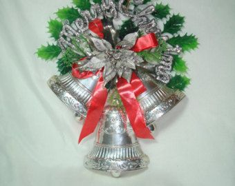 Silver Bells Decorations 1950S Silver Bells Merry Christmas Door Wall Decoration Vintage
