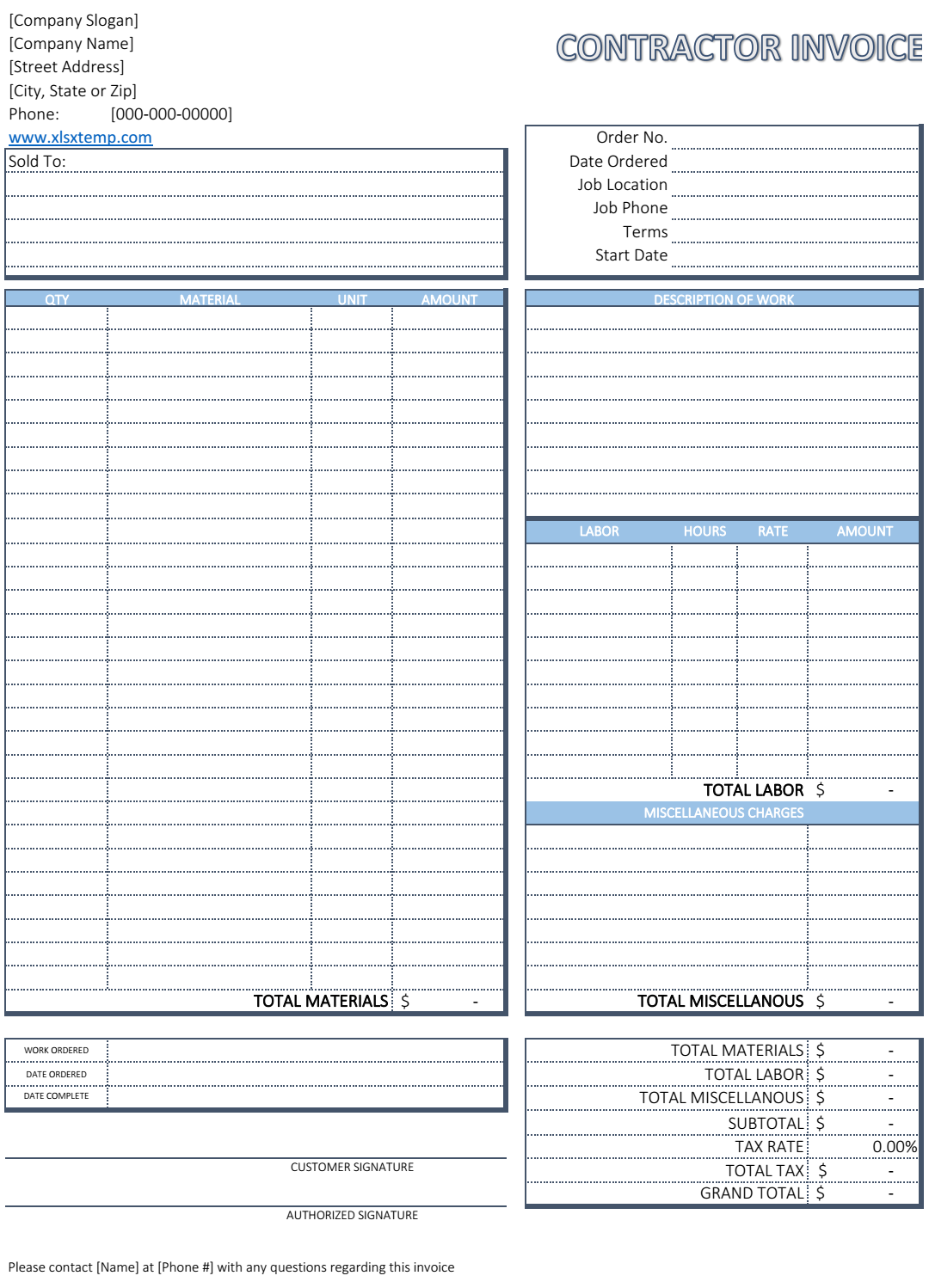Free Contractor Invoice Template  Excel Business Invoices