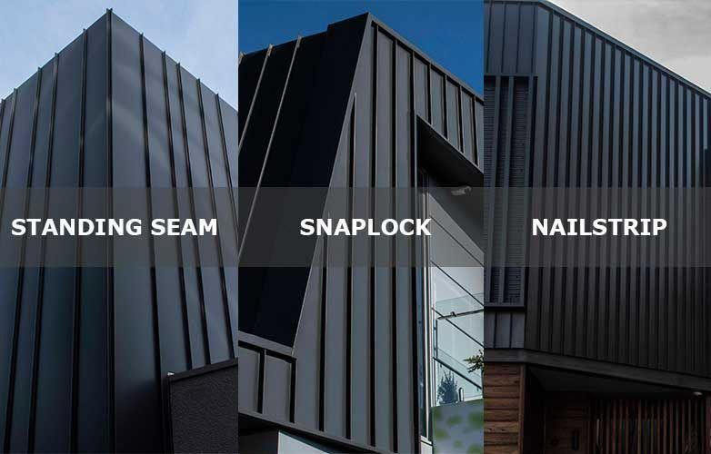 Standing Seam Snaplock And Nailstrip Cladding Systems Are Seamed Profiles The Three Systems Can Roofing Exterior Cladding Cladding Systems House Cladding