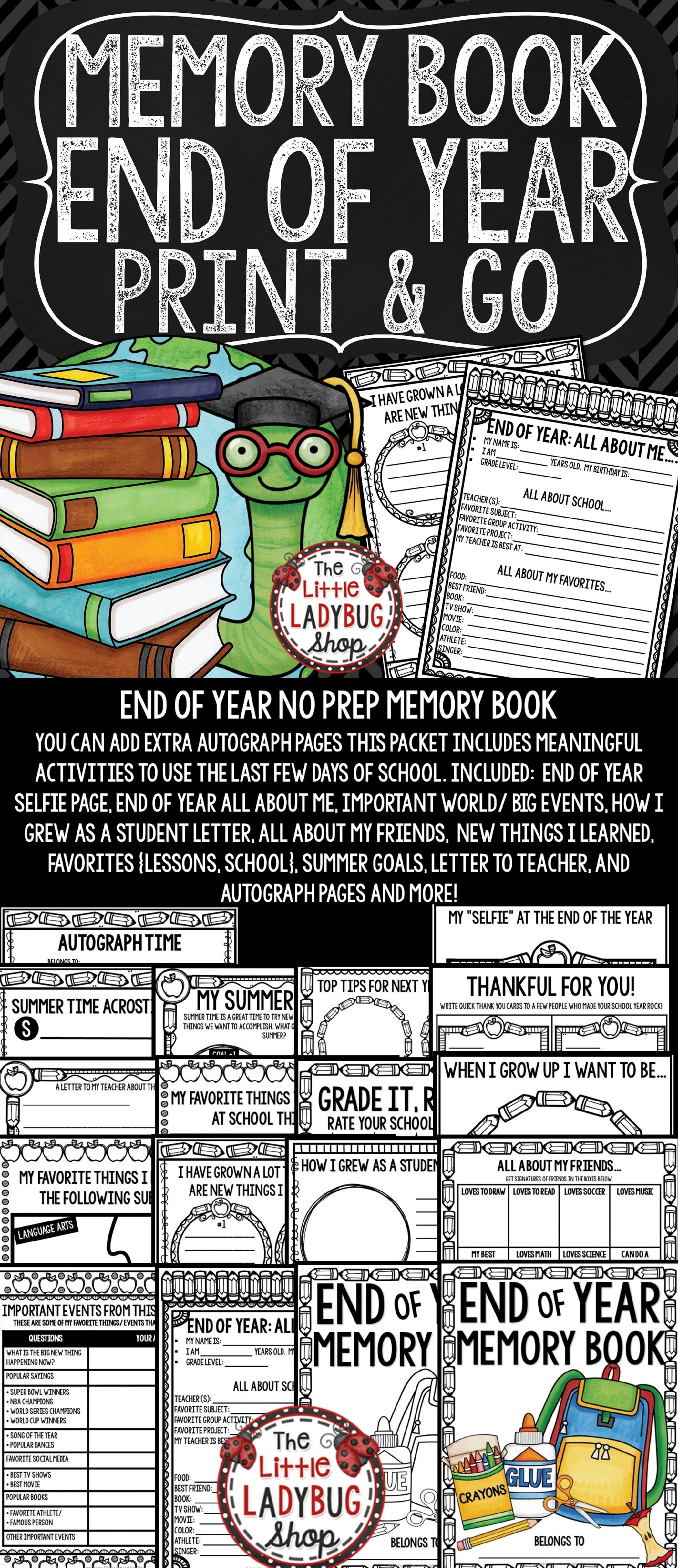 End Of Year Activities 3rd Grade 4th Memory Book Little Ladybug