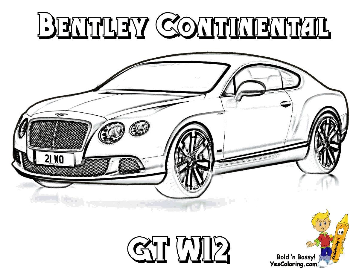 Print Out This Continental Gt W12 Bentley Car Coloring Sheet Whaat Tell Other Coloring Kids Your Eyeballs Found Yescoloring Bentley Car Bentley Gt Bentley