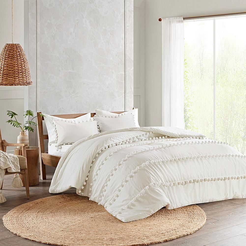 Madison Park Leona 3 Piece Pompom Cotton Comforter Set King Cal King 9811083 Hsn In 2021 Comforter Sets Cotton Comforter Set Boho Duvet Cover