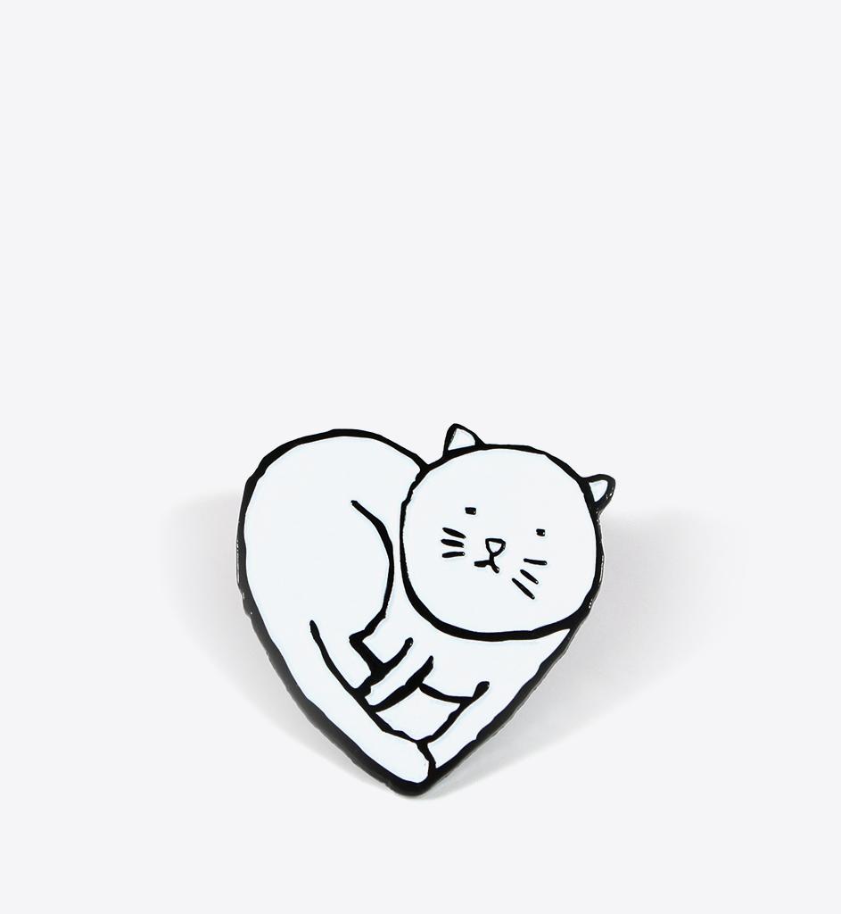 Jean jullien heart cat lapel pin pins and badges pinterest