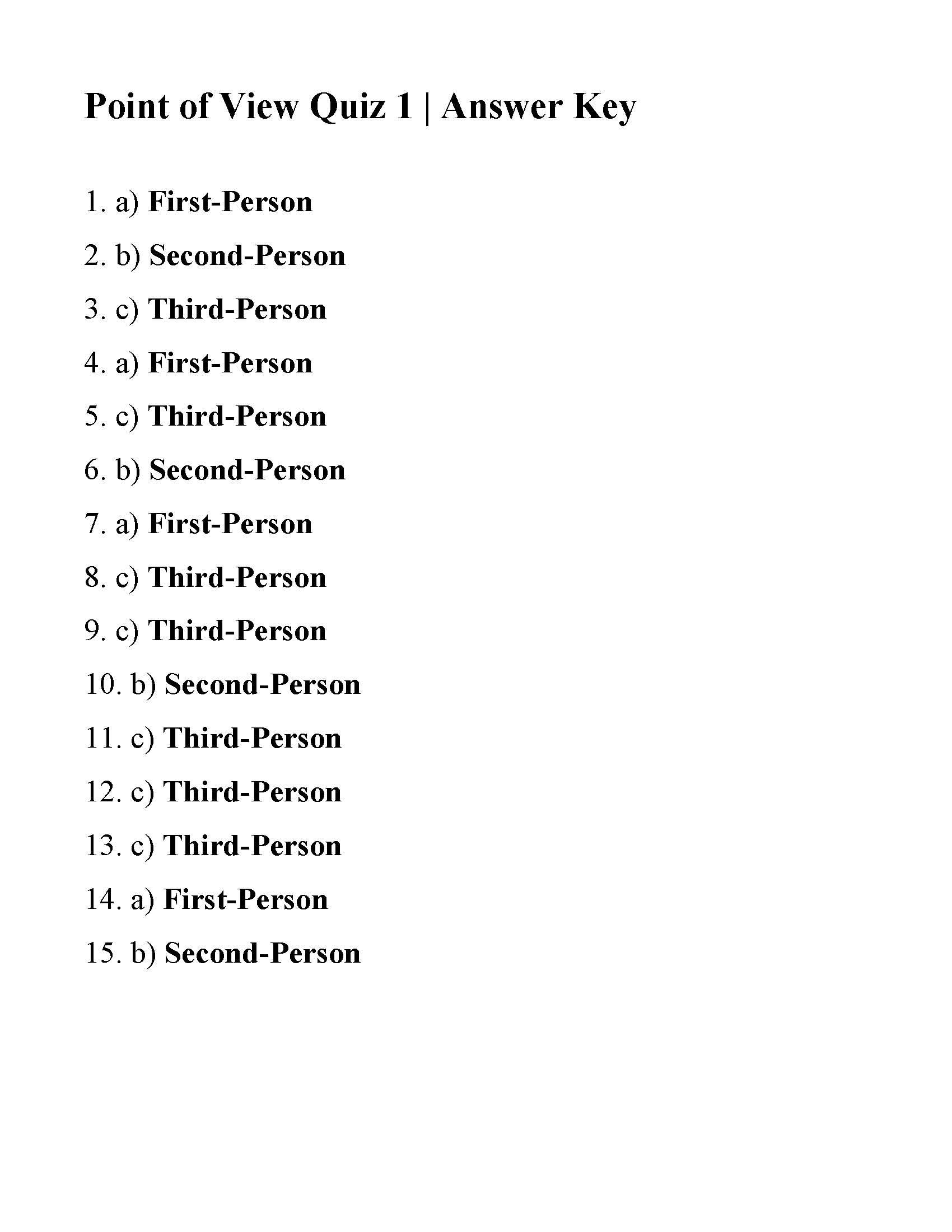 This Is The Answer Key For The Point Of View Quiz 1