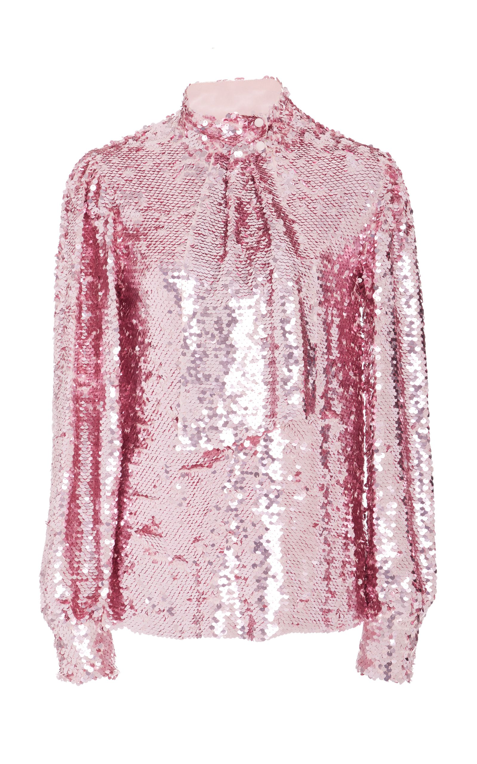 d820c06ecf087 Tie-Neck Sequin Blouse by MSGM Now Available on Moda Operandi