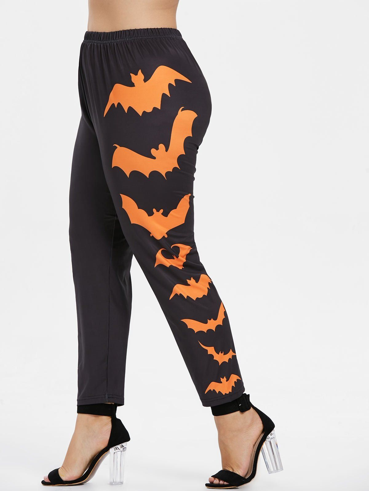 940e6e47fccc0 Halloween Plus Size Side Bat Pattern Leggings in 2019 | clothes hot ...