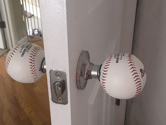 Team Logo Baseball Doorknobs Made With A Genuine Rawlings