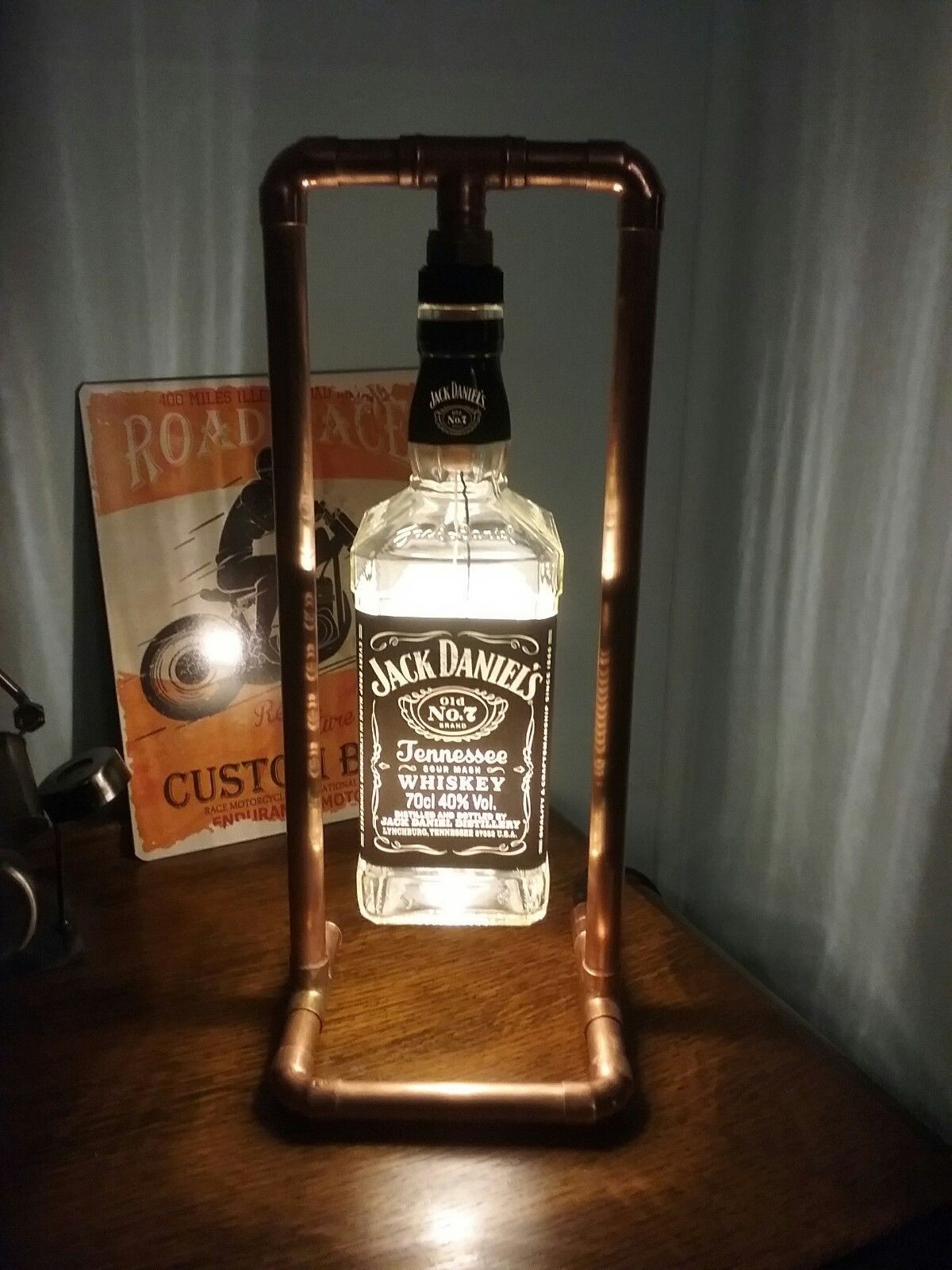 JD Steampunk Copper, Bottle Lamp, Table Light, Jack Daniels, industrial, Retro, LED images