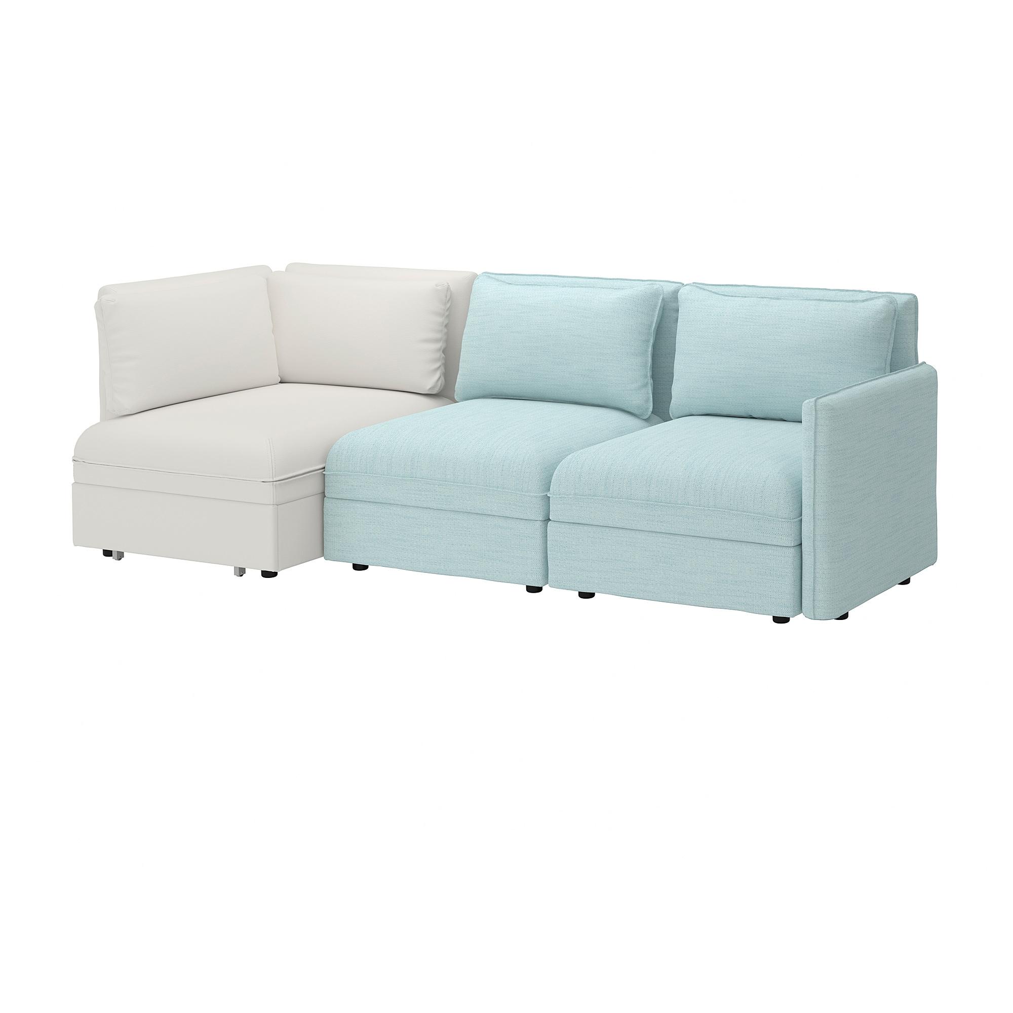 Vallentuna 3 Seat Modular Sleeper Sofa And Storage Hillared Murum Light Blue White Modular Corner Sofa Ikea Corner Sofa